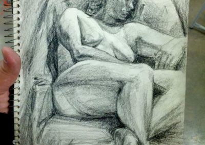 Drawing: Live study, reclining