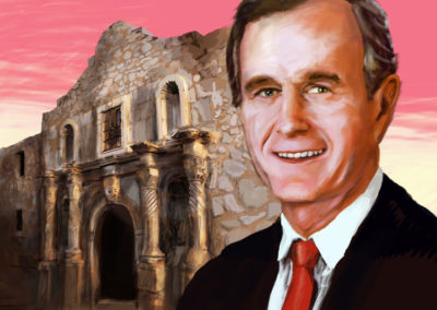 Digital Illustration: George Bush in front of the Alamo
