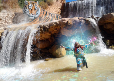 Photomontage: Warlock and Tiger at the river dam