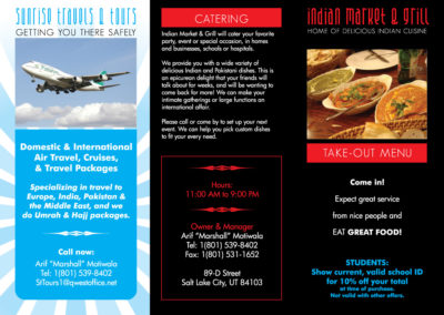 Print: Brochure for Indian Market & Grill