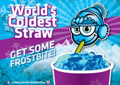 "Social Graphics: character logo for ""World's Coldest Straw"""